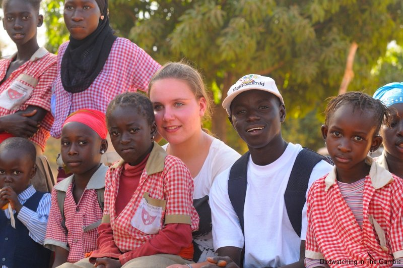 Burama and pupils of a school in Sittanunku, The Gambia
